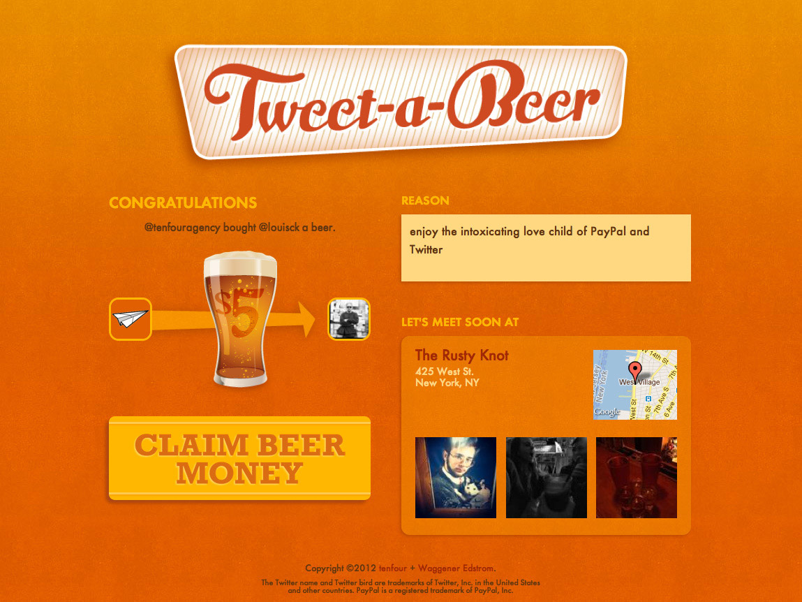 Tweet-a-Beer claim money