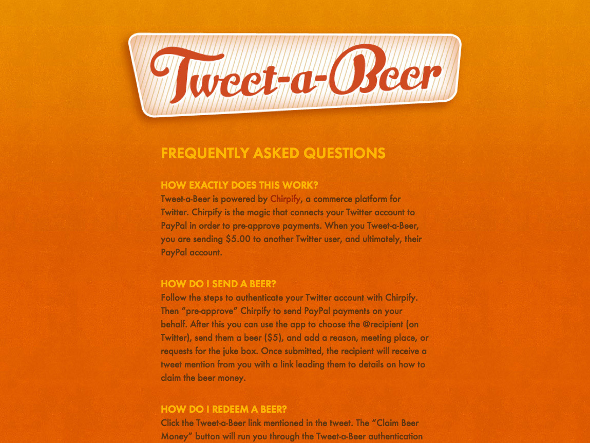 Tweet-a-Beer FAQ