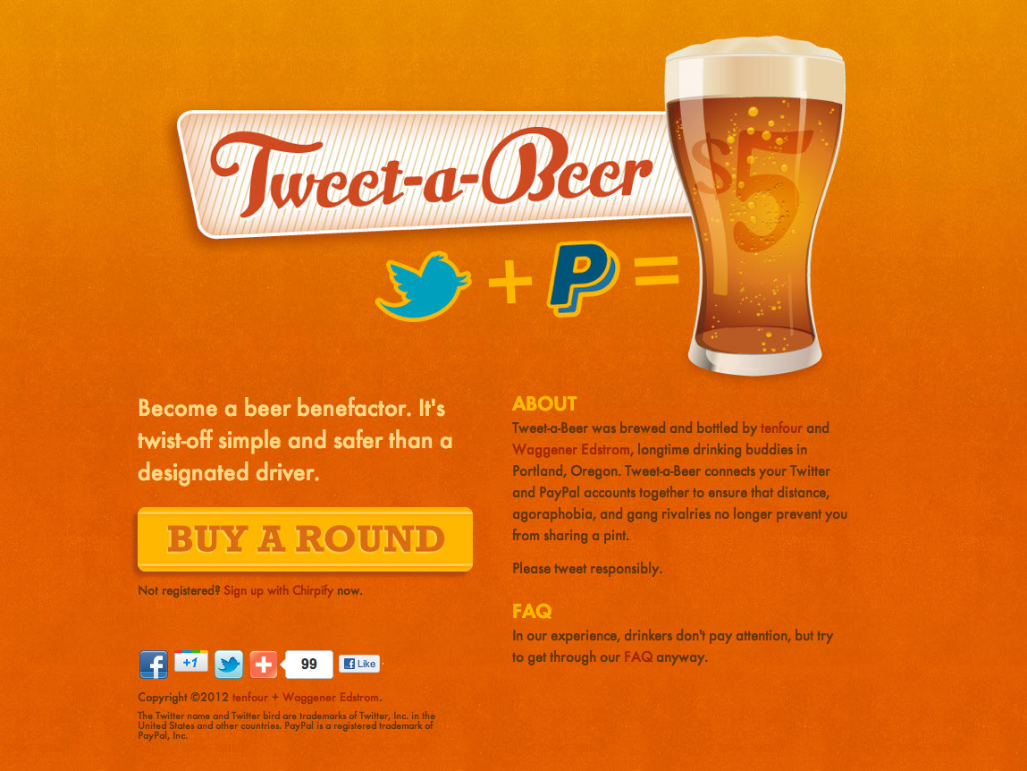 Tweet-a-Beer homepage